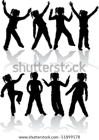 athletic group of kids - stock vector