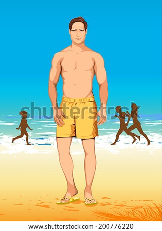 athletic man in yellow shorts  - stock vector