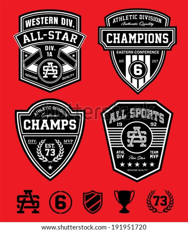 Athletic patch emblems - stock vector