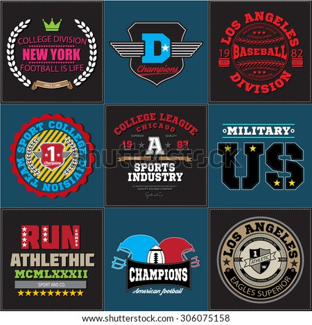 Athletic sport champions college baseball football military logo emblem big collection. Vector Graphics and typography t-shirt design for apparel. Colored version. - stock vector