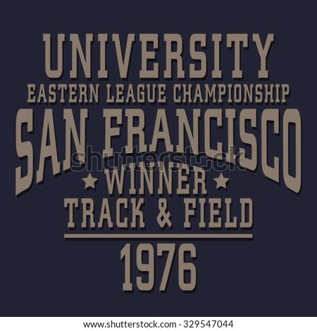 Athletic sport San Francisco typography, t-shirt graphics, vectors