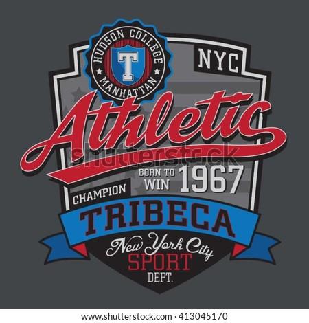 Athletic sport typography, t-shirt graphics, vectors - stock vector