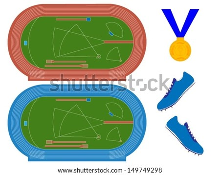 Athletics Fields with Running Tracks in Red and Blue - stock vector