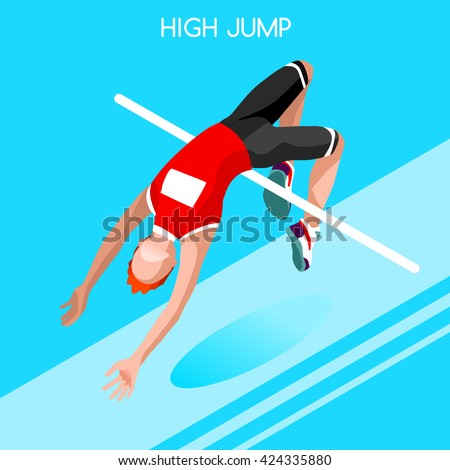 Athletics High Jump 2016 Summer Games Icon Set.3D Isometric Athlete.Sporting Championship International Athletics Competition.Sport Infographic Athletics High Jump olympics Vector Illustration - stock vector