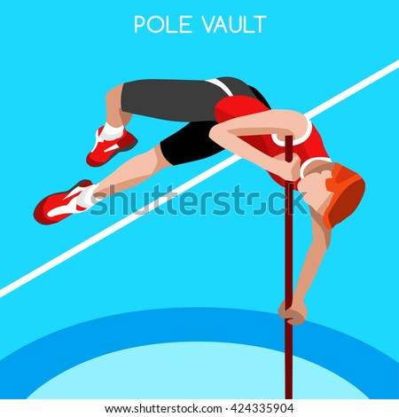 Athletics Pole Vault 2016 Summer Games Icon Set.3D Isometric Athlete.Sport Championship International Athletics Competition.Sport Infographic Pole Vault Athletics High Jump Vector Illustration. - stock vector