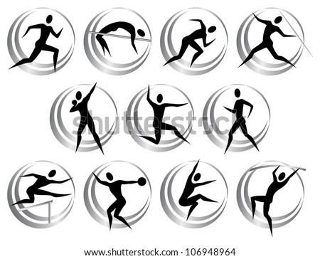 Athletics symbols - stock vector