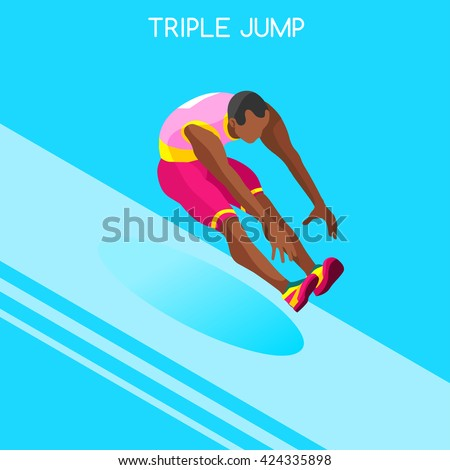 Athletics Triple Jump 2016 Summer Games Icon Set.3D Isometric Athlete.Sporting Championship International Athletics Competition.Sport Infographic Athletics Triple Jump olympics Vector Illustration - stock vector