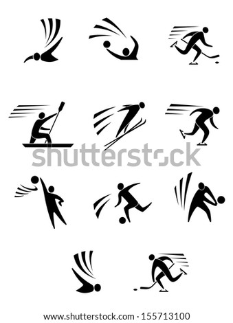 Athlets and players for different sports elements or design or idea of logo. Jpeg version also available in gallery - stock vector