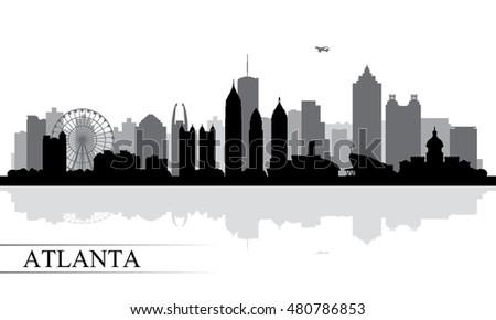 atlanta city skyline silhouette background vector stock vector hd rh shutterstock com Los Angeles Skyline Vector Art Detroit City Skyline Vector