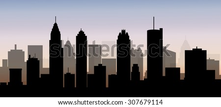 Atlanta Early Morning City Skyline