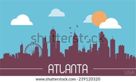 Atlanta USA skyline silhouette flat design vector illustration. - stock vector
