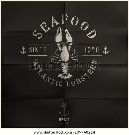 Atlantic Lobster badge | editable EPS 10 vector - stock vector