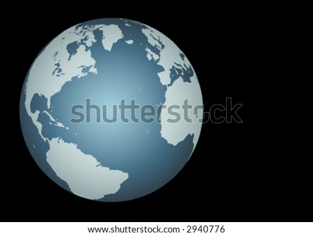 Atlantic Ocean(Vector). Accurate map of the North Atlantic. Mapped onto a globe. Includes many small islands, lakes, etc
