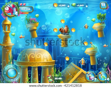 Atlantis ruins playing field - vector illustration screen to the computer game. Bright background image to create original video or web games, graphic design, screen savers. - stock vector