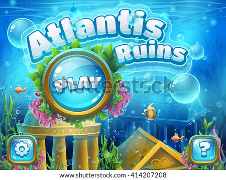 Atlantis ruins - vector illustration boot screen to the computer game. Bright background image to create original video or web games, graphic design, screen savers. - stock vector