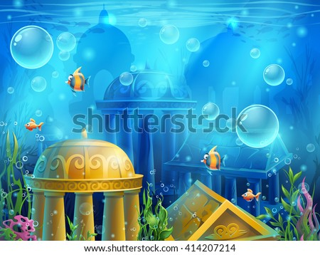 Atlantis ruins - vector illustration screen to the computer game. Bright background image to create original video or web, graphic design, screen savers. - stock vector