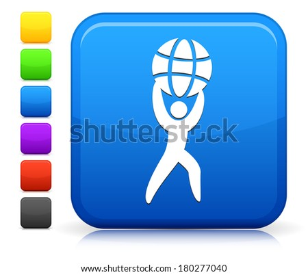Atlas Icon on Square Internet Button Collection - stock vector