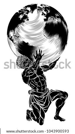 Atlas Titan Greek Mythology Symbol Strength Stock Vector 1043900593
