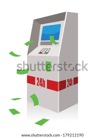atm, automated teller machine  - stock vector