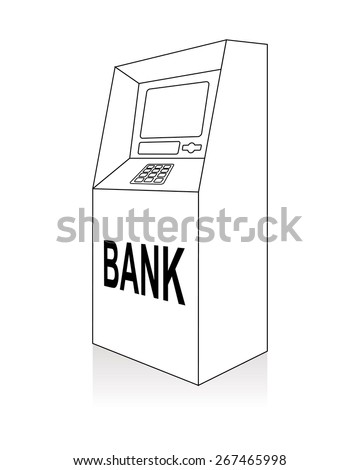 atm, automated teller machine, line art - stock vector