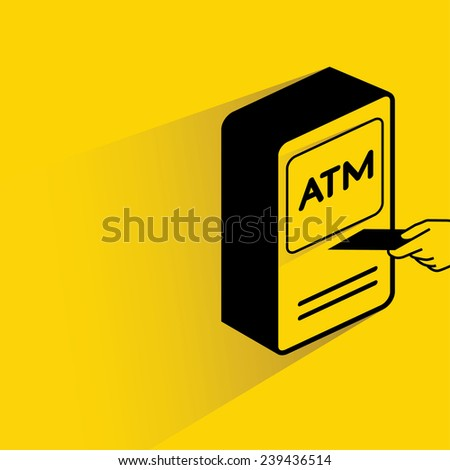 ATM icon, credit card and money machine - stock vector