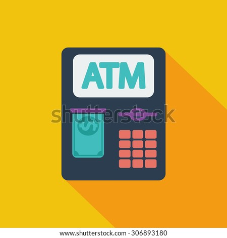 ATM icon. Flat vector related icon with long shadow for web and mobile applications. It can be used as - logo, pictogram, icon, infographic element. Vector Illustration. - stock vector