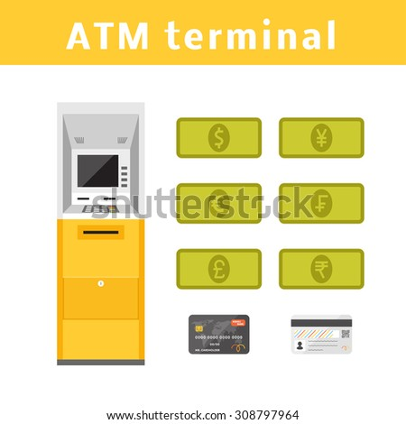 ATM machine concept with types of currencies and plastic card. Vector cash machine - stock vector