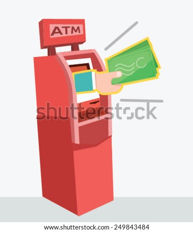 ATM machine money deposit and withdrawal Vector - stock vector