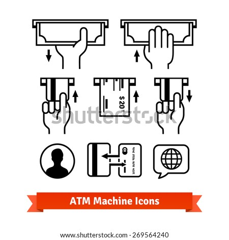 ATM machine vector icons set. Hands with credit cards, cash.  - stock vector