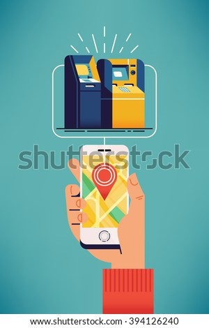 ATM near you. Find closest teller cash machine via mobile application. Cool vector banner template on man searching closest cash withdrawal ATM on city map. Nearby bank ATM - stock vector