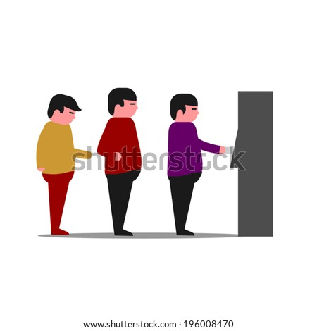 ATM Queue - line of people at a bank ATM machine - stock vector