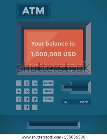 ATM showing one million dollars credit card balance. Idea - Business success, High salary and Wealth - stock vector