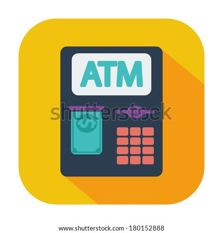 ATM. Single flat color icon. Vector illustration. - stock vector