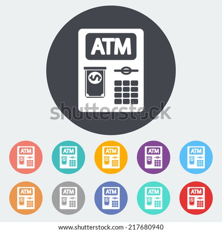 ATM. Single flat icon on the circle. Vector illustration. - stock vector