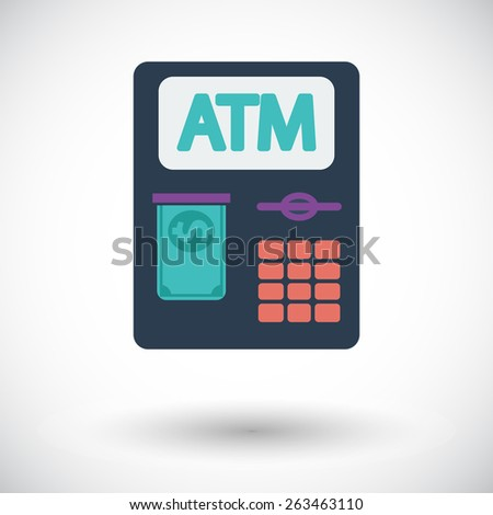 ATM. Single flat icon on white background. Vector illustration. - stock vector