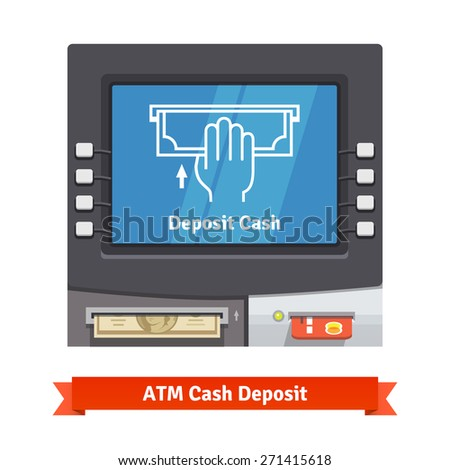 ATM teller machine with current operation icon on the screen and dollar banknotes inserted to a slot. Hand placing banknote pictogram. Flat style vector illustration. - stock vector