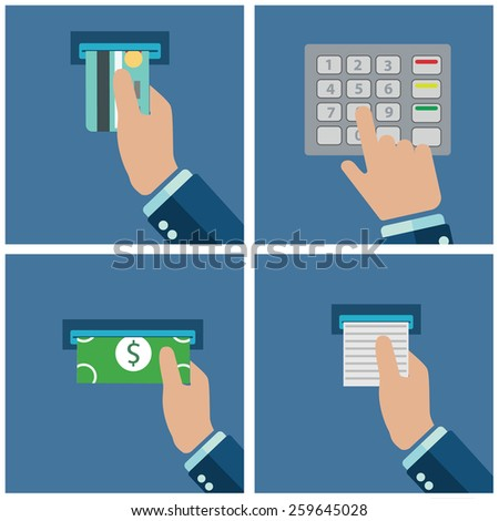 ATM terminal usage. Payment through the terminal. Getting money from an ATM card. Vector illustration - stock vector