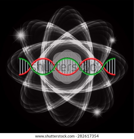 Atom black abstract nuclear structure science background. symbol vector illustration. geen red DNA - stock vector