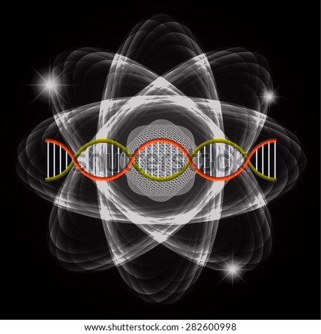 Atom black abstract nuclear structure science background. symbol vector illustration. orange yellow DNA - stock vector