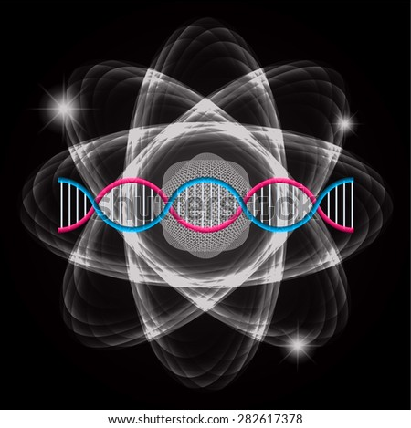 Atom black abstract nuclear structure science background. symbol vector illustration. pink blue DNA - stock vector