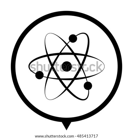 atom - black vector  icon; map pointer