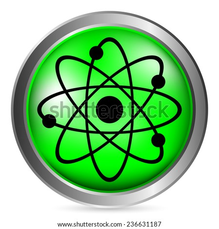 Atom button on white background. Vector illustration.