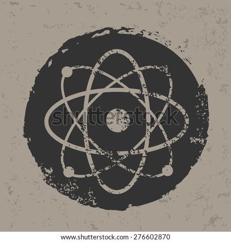 Atom design on grunge background, grunge vector - stock vector