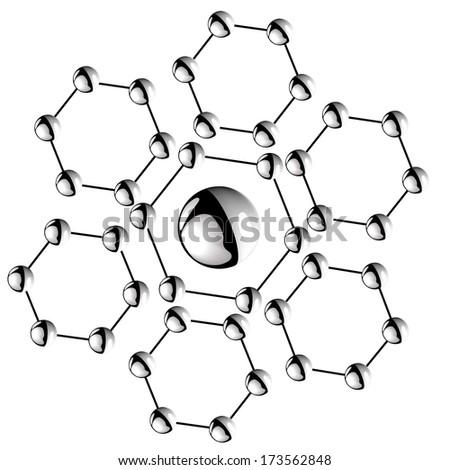 Atom hexahedron vector illustrator - stock vector