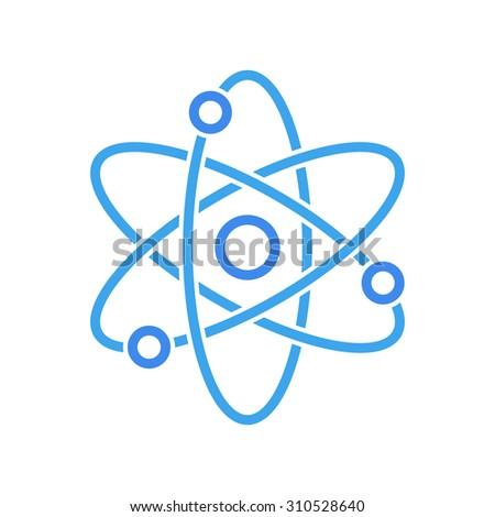 Atom icon, modern minimal flat design style. Vector illustration, science symbol - stock vector