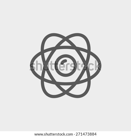 Atom icon thin line for web and mobile, modern minimalistic flat design. Vector dark grey icon on light grey background. - stock vector