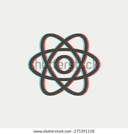 Atom icon thin line for web and mobile, modern minimalistic flat design. Vector icon with dark grey outline and offset colour on light grey background. - stock vector
