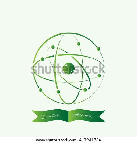 Atom icon,  vector illustration