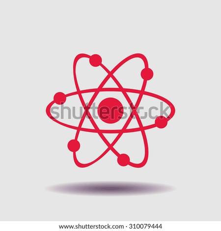 Atom icon, vector illustration. Flat design style - stock vector