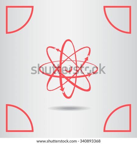 Atom icon, vector illustration. Flat design style. - stock vector